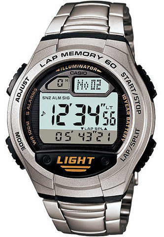 Casio W-734D-1AV Lap Memory 60 - World Time 5 Alarms Watch Steel Band New 10 Year Battery