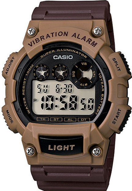 Casio W-735H-5AV - 2013 Super Illuminator Vibration Alarm 10 Year Battery Brown Watch
