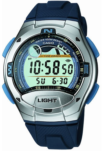 Casio W-753-2AV Blue Moon and Tide Graph Dual Time 4 Alarms Watch