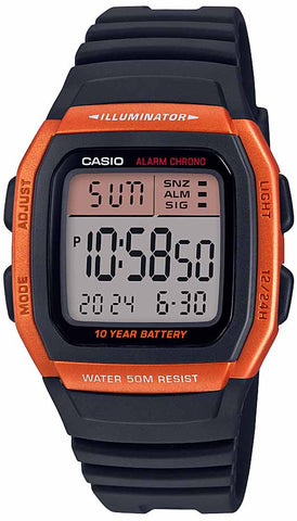Casio W-96H-4A2V Men's Multifunction Sport Watch Orange 10 Year Battery