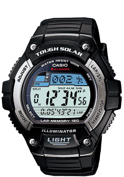 Casio W-S220-1AV SOLAR POWER World Time Lap Memory Watch 5 Alarms LED Light