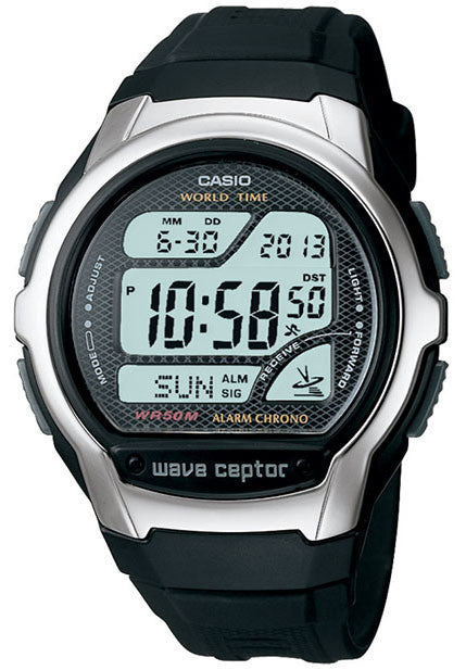 Casio WV-58A-1A Mens Black Atomic Digital WAVECEPTOR Sports World Time Watch