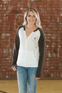 And White & Brown - Zip Hoody