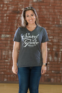 Saved By Grace Charcoal V-Neck - Women's