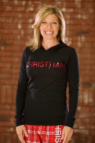 (CHRIST)MAS™ Black Thermal Hoody w/red foil - JR