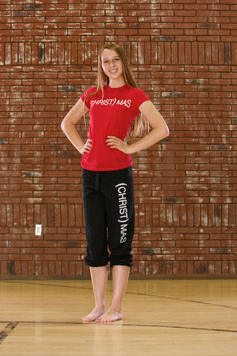 (CHRIST)MAS™ Adult Black or Pink Capri Sweatpants - JR CLOSEOUT