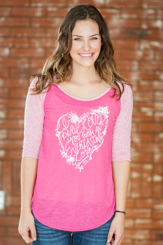 Everlasting Pink/Pink 3/4 Baseball T-Shirt - JR