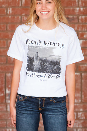 Don't Worry White Crew T-Shirt - JR
