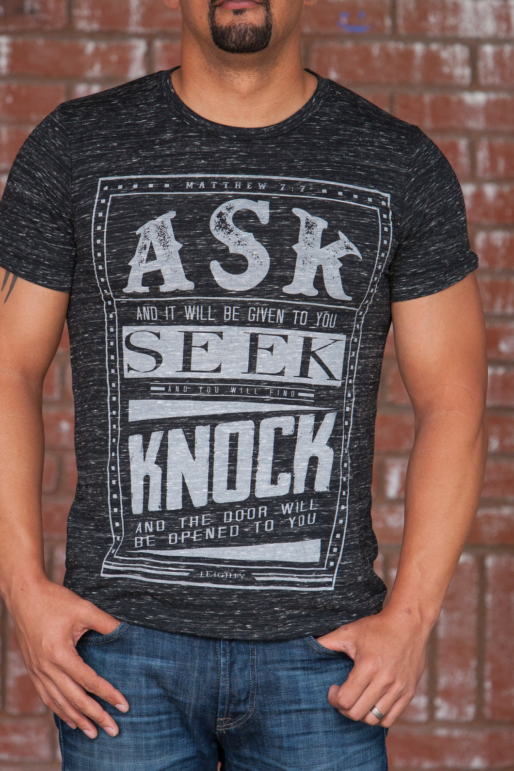 Ask Black Marble T-Shirt - Men's