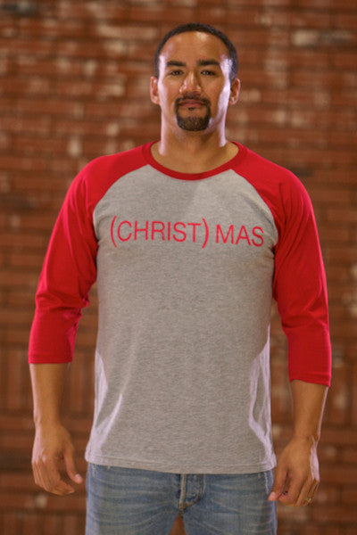 (CHRIST)MAS™ Red/Gray 3/4 Baseball Shirt - Men's