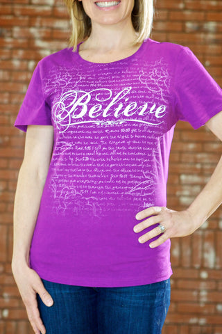 Believe Purple Traditional Women's T-shirt -Women's Cut