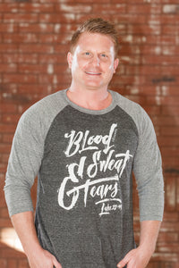 Blood Sweat & Tears 3/4 Charcoal Gray Raglan T-Shirt - Men's