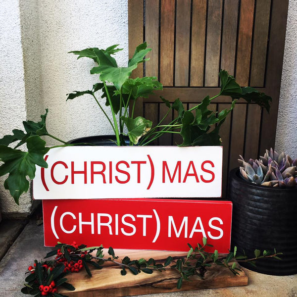 (CHRIST)MAS Sign Red or White
