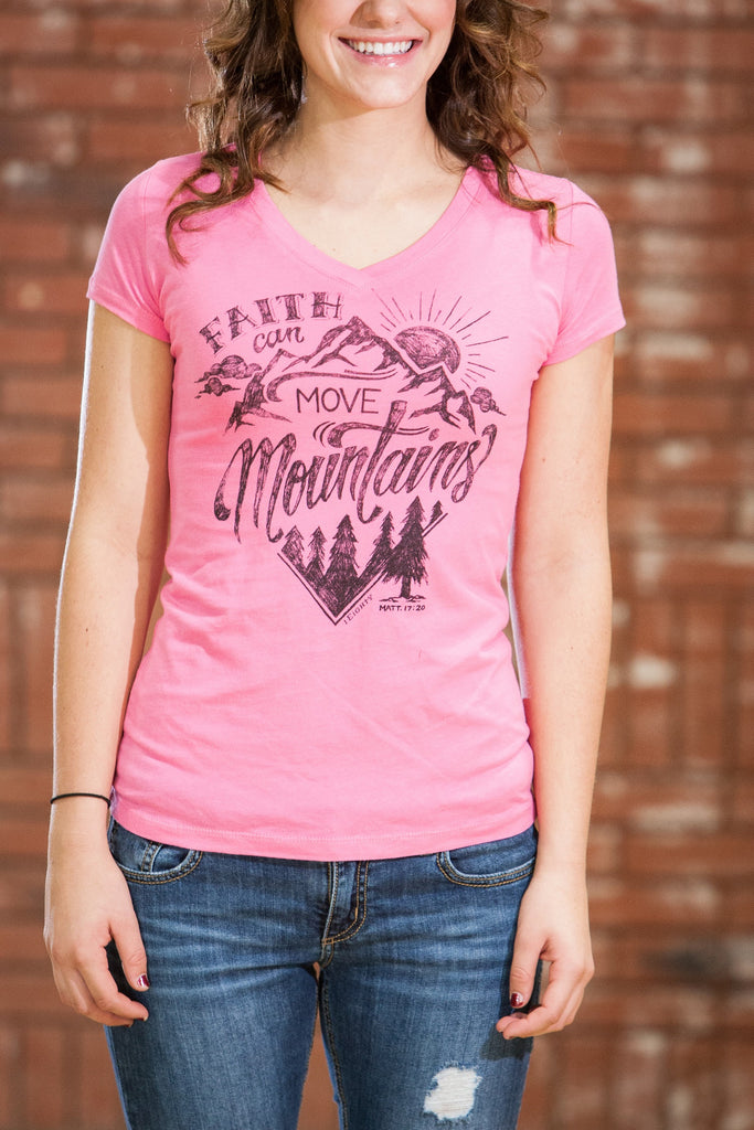 Move Mountains Pink V Neck - JR