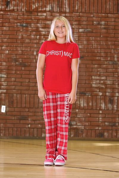 (CHRIST)MAS™ Youth Plaid Red/Pink/Purple Pajama Bottoms -  YOUTH UNISEX CLOSEOUT