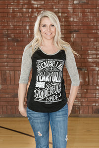 Psalm 139 Black/Gray 3/4 Baseball T-Shirt - JR