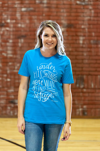 Wings Turquoise Crew T-Shirt - Women's