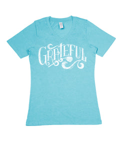 Grateful Pacific Blue V-Neck - Women's Cut MOTHER'S DAY!