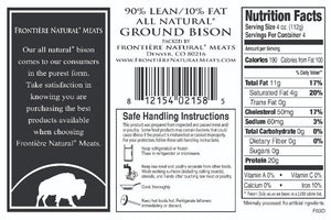 Ground Bison, 90% Lean, 1 pound package, Made in Colorado. No antibiotics.  $9.67 per package