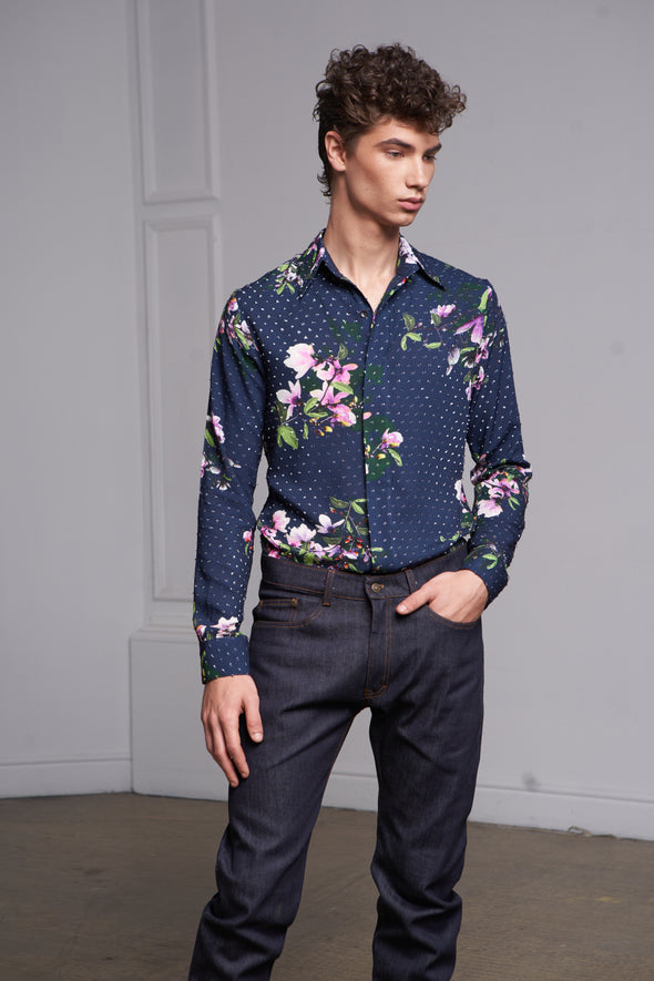 Long sleeves flowers print