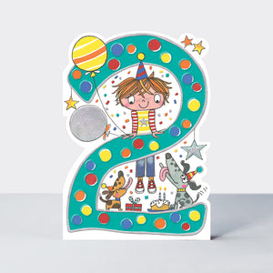 Birthday Card Age 2 Boy Jumps
