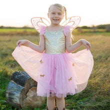 Load image into Gallery viewer, Great Pretenders Gold Butterfly Dress with Fairy Wings