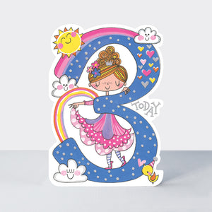 Birthday Card Age 3 Girl Dances