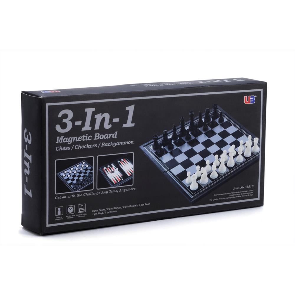 3-in-1 Chess Checkers Backgammon