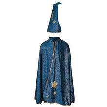 Load image into Gallery viewer, Great Pretenders Starry Night Wizard Cape & Hat SZ 5-6