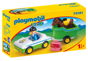 Playmobil - 1 2 3 - Car with Horse Trailer - 70181