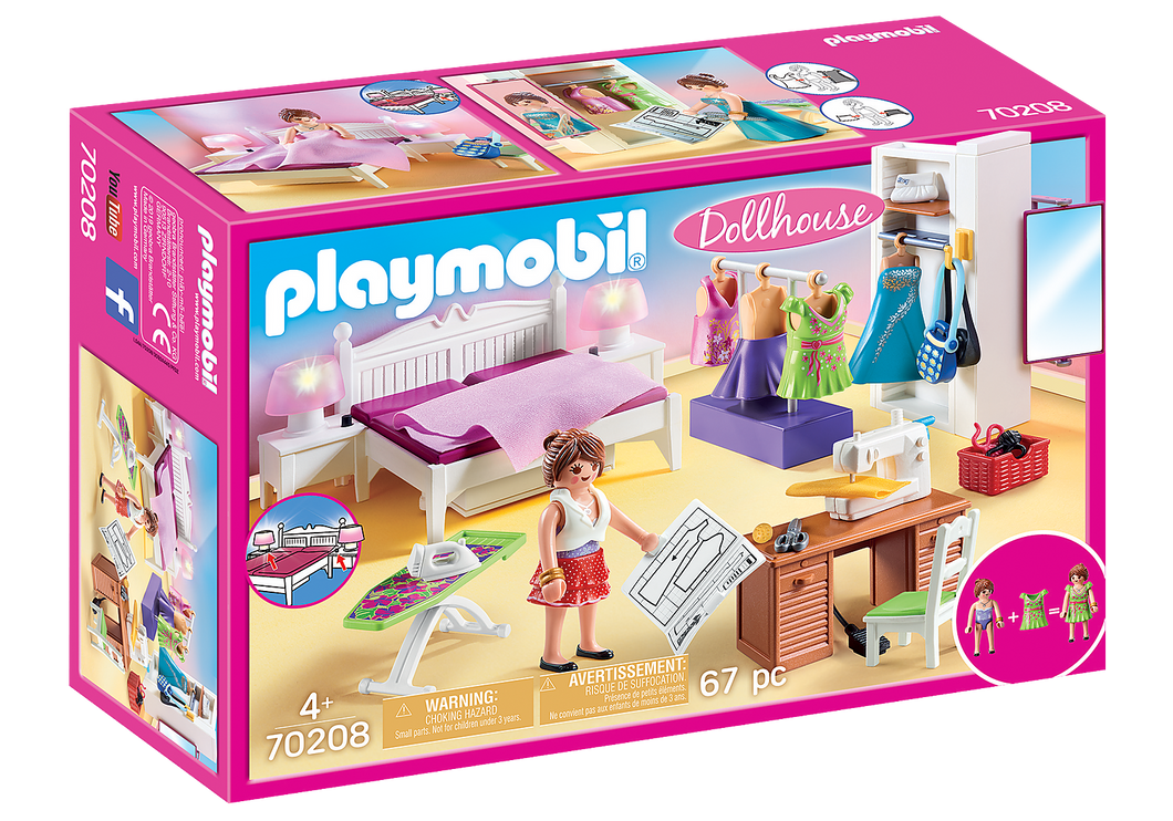 Playmobil - Dollhouse - Bedroom with Sewing Corner - 70208