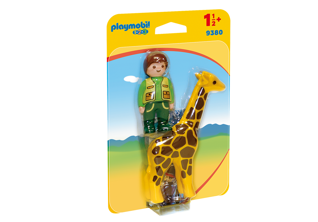 Playmobil - 1 2 3 - Zookeeper with Giraffe - 9380