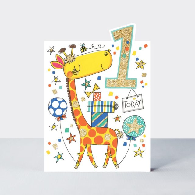 Birthday Card Age 1 Giraffe