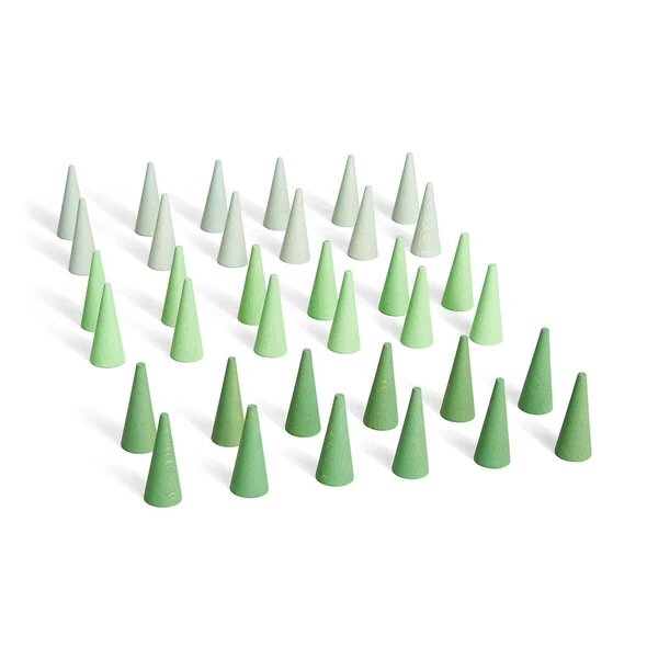 Wood Mandala Little Cone 36pc Greens by Grapat