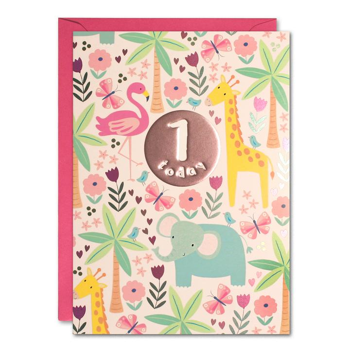 Birthday Card Age 1 Pink Jungle