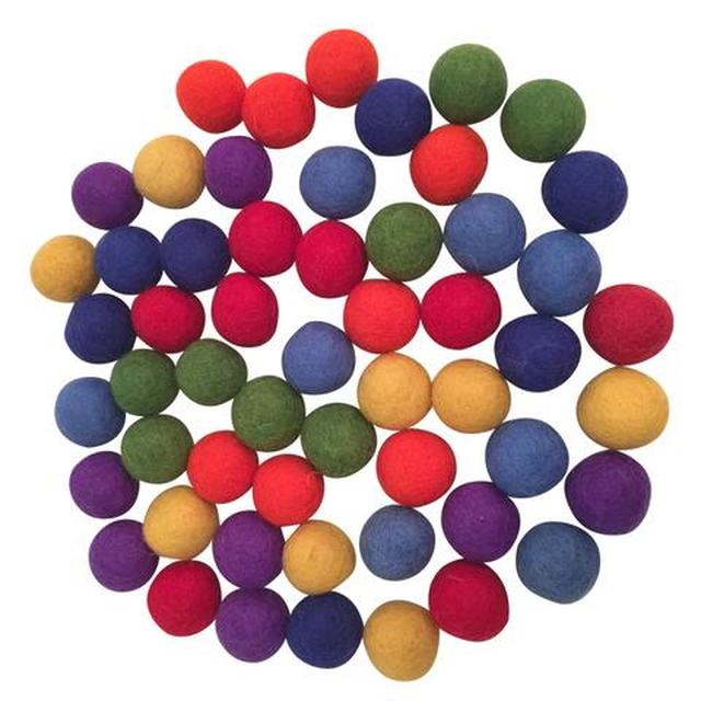 Rainbow Felt Balls Variety of Colours