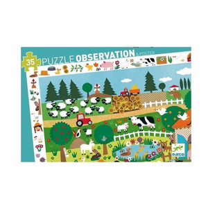 Djeco 35pc Puzzle Observation and Poster - La ferme