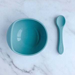 Silicone Suction Bowl & Spoon Set Various Colours