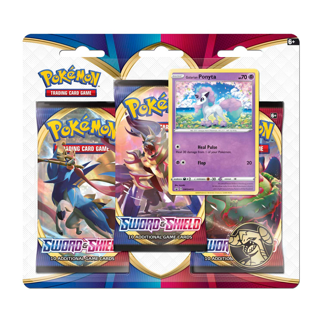 Pokémon TCG: Sword & Shield 3 Booster Packs, Coin & Galarian Ponyta