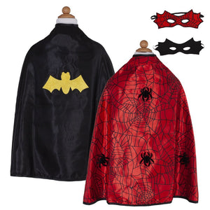 Great Pretenders Reversible Spider/Bat Cape and Mask Set SZ 3-4