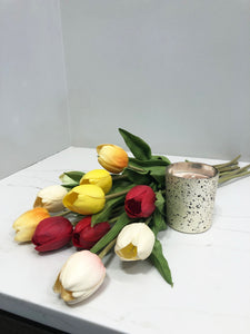 Faux Tulip Bouquet with Assorted Candle