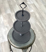 Gray Round tiered tray