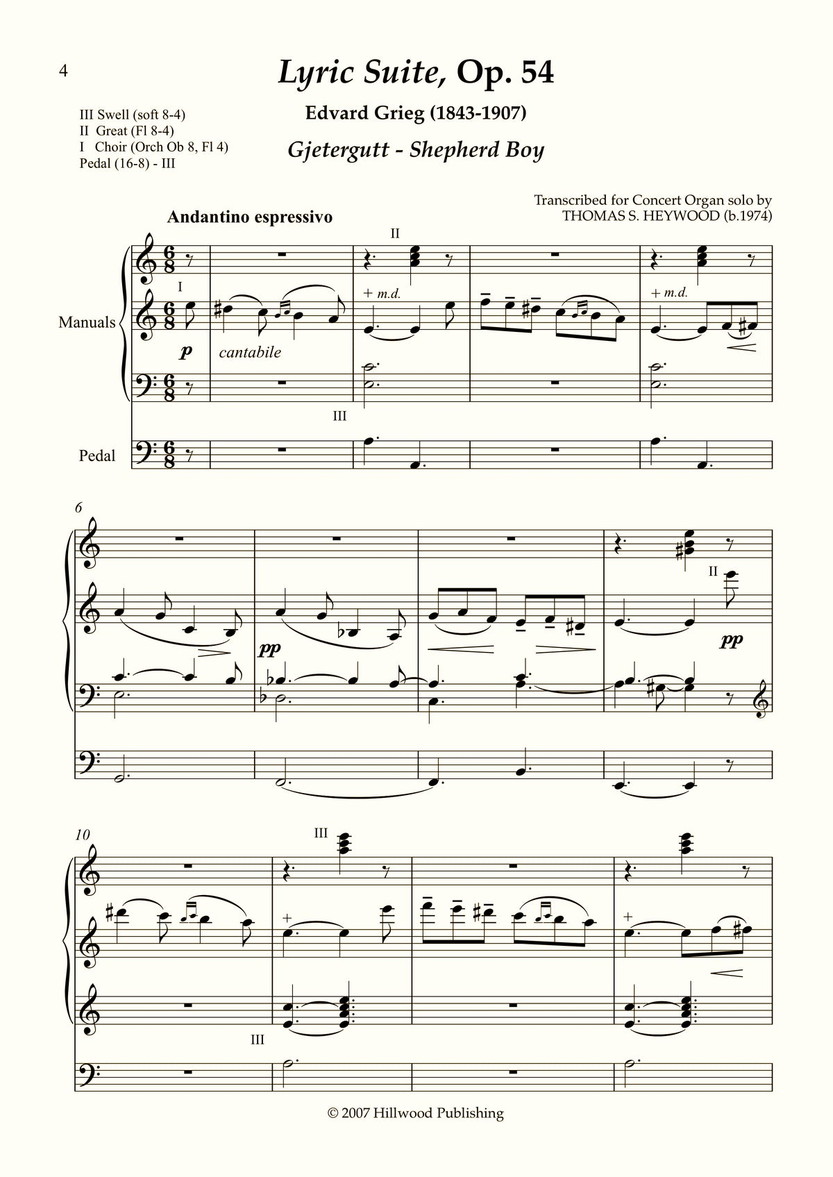 Grieg/Heywood - Shepherd Boy from the Lyric Suite, Op. 54 (Score)