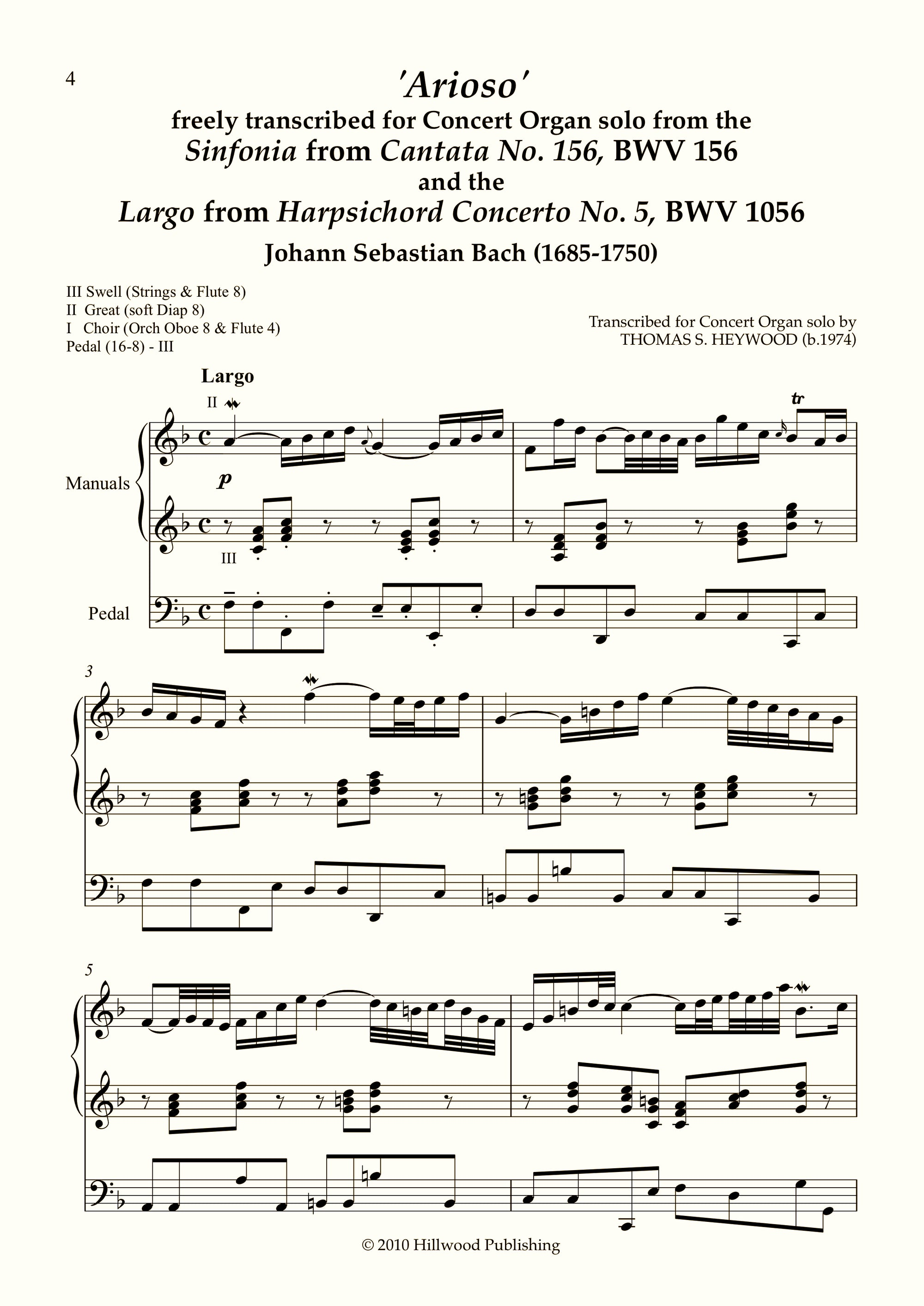 Bach/Heywood - 'Arioso': Sinfonia from Cantata No. 156, BWV 156 (Score) | Thomas Heywood | Concert Organ International