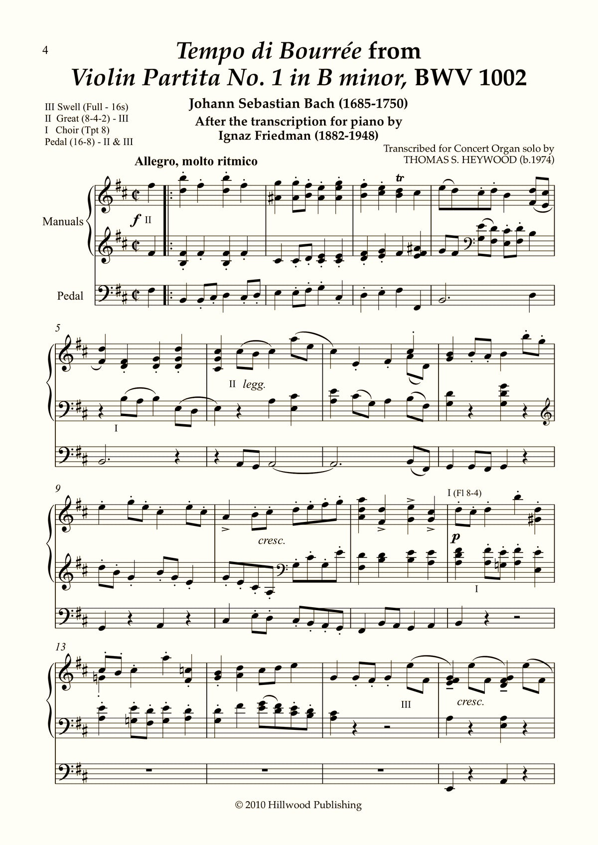 Bach/Heywood - Bourrée from Violin Partita No. 1 in B minor, BWV 1002 (Score) | Thomas Heywood | Concert Organ International