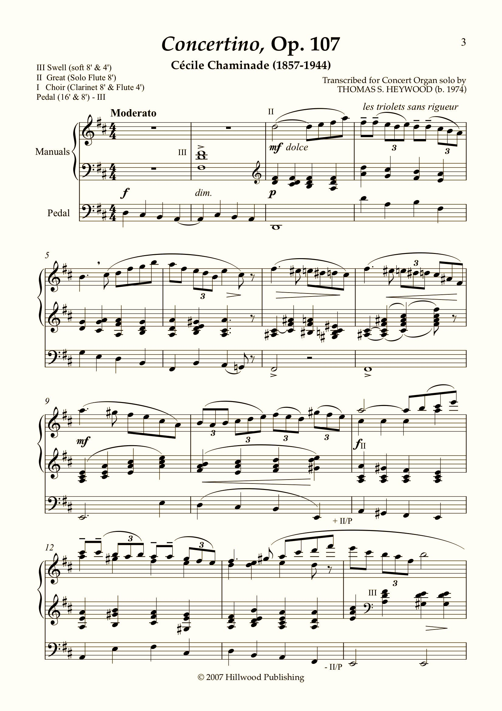 Chaminade/Heywood - Concertino, Op. 107 (Score) | Thomas Heywood | Concert Organ International