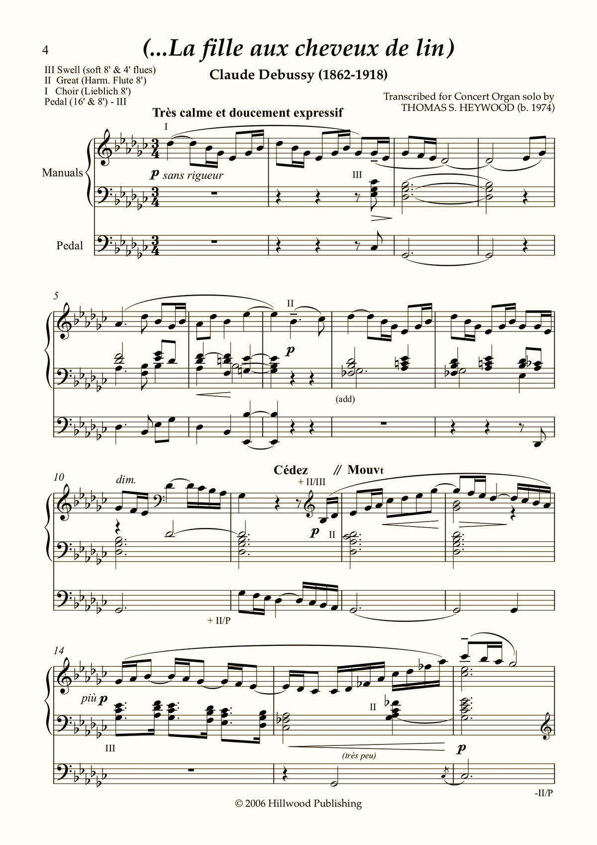 Debussy/Heywood - 'The Girl with the Flaxen Hair' from Préludes Book 1, No. 8 (Score) | Thomas Heywood | Concert Organ International