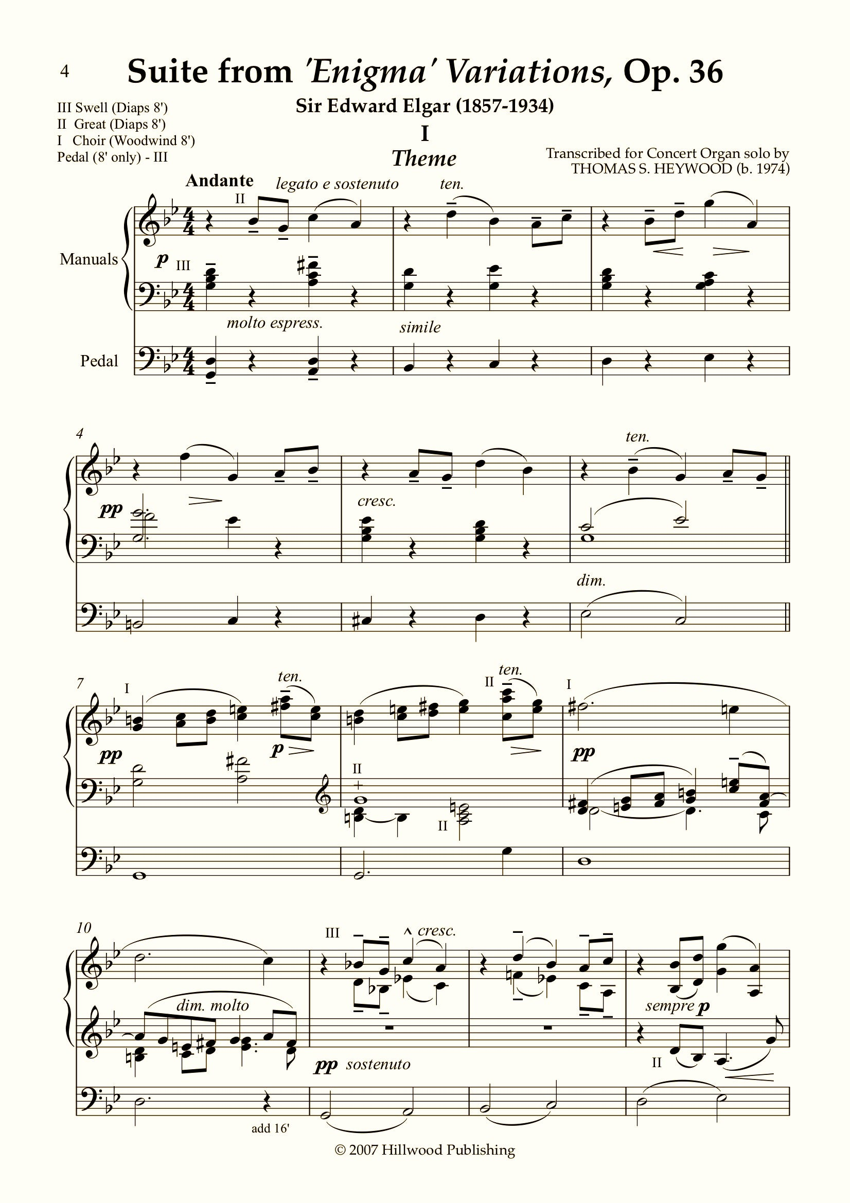 Elgar/Heywood - Suite from the 'Enigma' Variations, Op. 36 (Score) - Concert Organ International