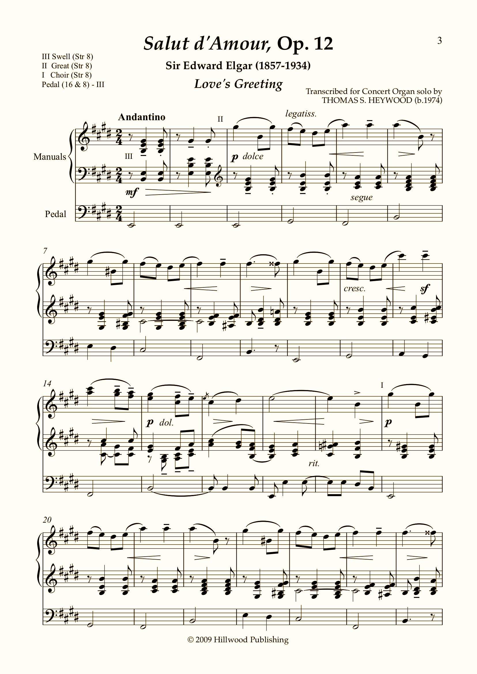 Elgar/Heywood - Salut d'Amour, Op. 12 (Score) | Thomas Heywood | Concert Organ International