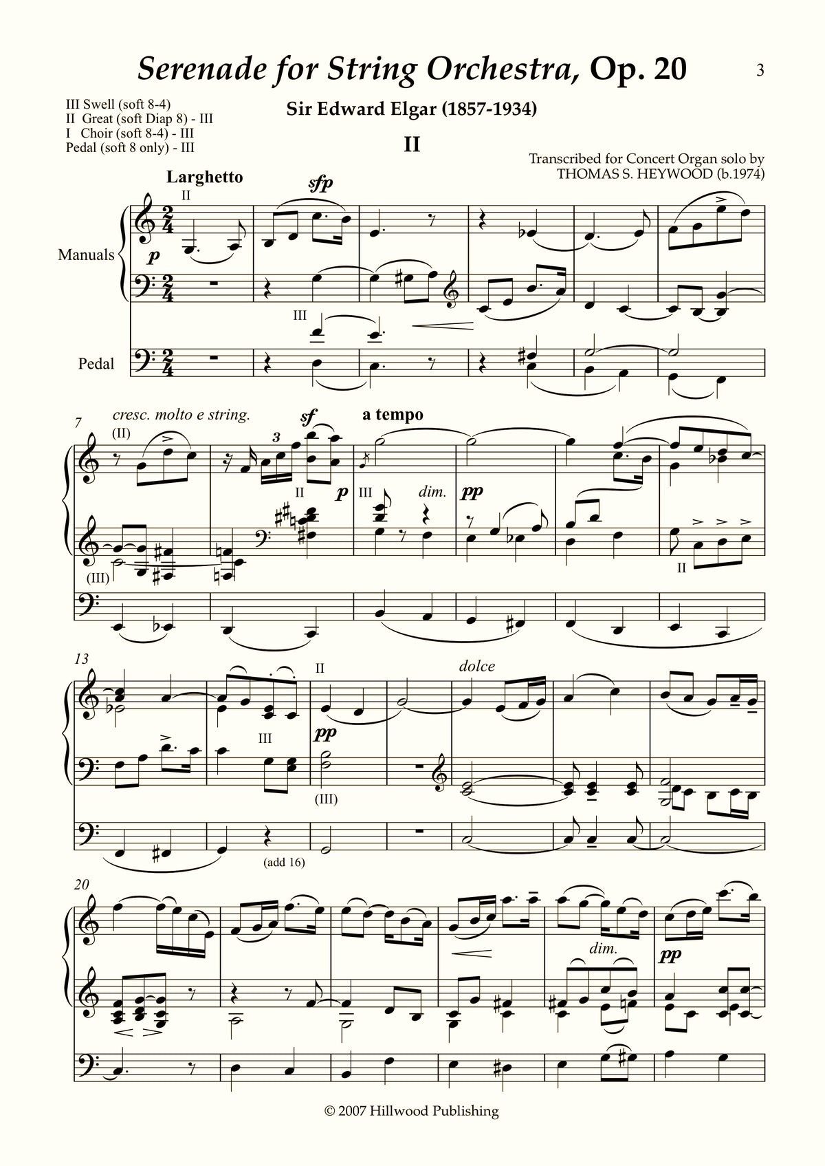 Elgar/Heywood - Larghetto from Serenade for String Orchestra, Op. 20 (Score)